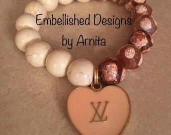 White and Oatmeal Howlite and Agate Single Bracelet