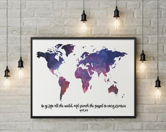 Go Ye Into All The World And Preach the Gospel Framed Art or Fine Art Print | Mark 16:15 | Water Color World Map | Gospel World Map