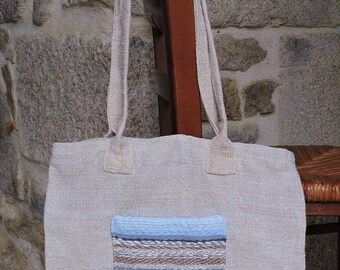 """Séville"" tote bag purse, Pocket weaving on linen, 33 / 36cm"