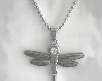 """Stainless Steel Dragonfly Pendant on 24"""" Steel Ball-Chain Necklace in Velvet Gift Pouch"""