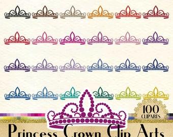 100 Princess Crown Clipart, Tiara Clipart, Crown Clipart, Royal Clipart, 100 PNG Clipart, Planner Clipart, Fairytale Princess  Clip Art