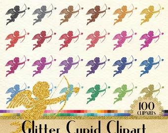 100 Glitter Cupid Love Clipart, Love Digital Clip art, Valentine Clipart, 100 PNG Clipart, Planner Clipart, Instant Download Wedding Clipart