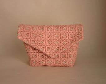 Linen and pink lace clutch