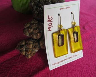 Lovely earrings yellow fused glass with effect black and metallic iridescent bronze