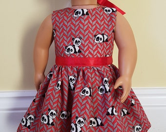 Our Generation Doll clothes - custom made Red Panda Print Dress