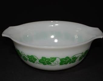 GLASBAKE, Green, Hazel Atlas, Ivy, Bowl, Leaf Pattern, Milk Glass, Dynaware,  1950s, in great vintage condition, vintage