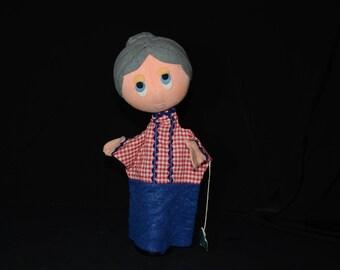 Vintage Czechoslovakia hand puppet granny, glove puppet, felt, puppet theatre handstand doll,handmade, MONA, Czech with tag, grandmother