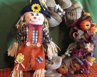 Scarecrow Burlap Fall Wreath