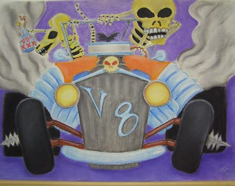 Two skeletons driving in a V8 Hotrod and one is a rat original pastel drawing