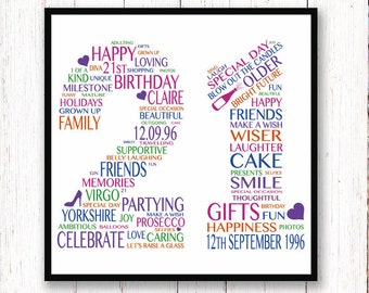 21st Birthday Gift -- Personalised 21st Birthday Print -- 21st Birthday Typography Print