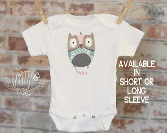 Girl Owl Baby Name Personalized Onesie®, Customized Onesie, Woodland Style Onesie, Boho Baby Onesie, Girl Name Onesie - 211E