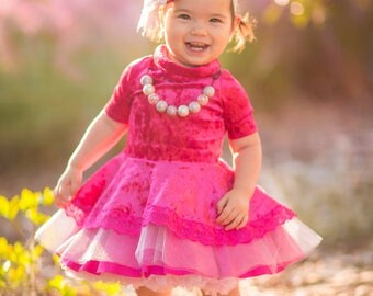 Pink Crushed Velvet Hi Low Peplum Dress Sizes 12 months to 10 years