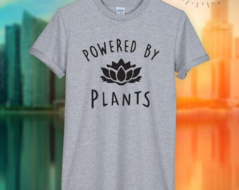 Powered by Plants black logo  Gift  unisex top T-shirt