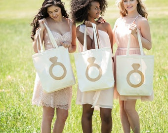 Bridesmaid Bag, Glitter Diamond Ring Tote Bag, Gifts for your Bridesmaids, Bridal Party Gift Bags, Canvas Totes
