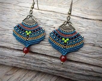 macrame earrings, gipsy boho style, carnelian beads, glass seed beads, handcrafted earrings