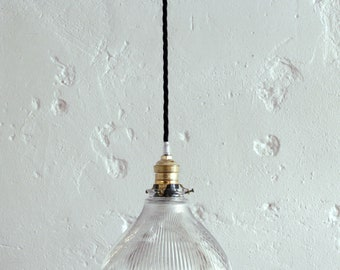 Vintage Lampshade transparent glass ceiling light fixture hanging type Holophane diameter 19 cm
