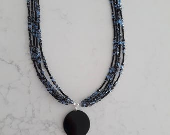 Blue n black crystal necklace