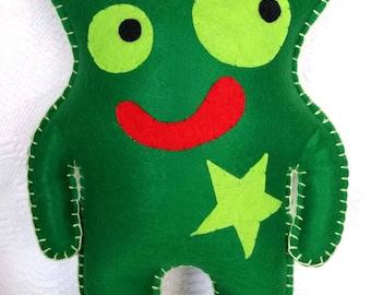 Opie Monster, Monster Felt Toy, Green Monster