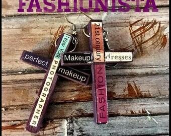 Purple Cross Earrings The Fashionista #3