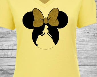 Belle Minnie Shirt. Belle Shirt with Glitter Bow. Disney Belle shirt. Beauty and the Beast shirt. Glitter Shirt. Disney Shirt.