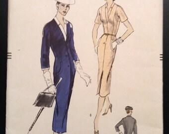 Vogue 8788 Misses' Slim Fitted Dress Pattern Size 14 Bust 32 Vintage 1950's Unused