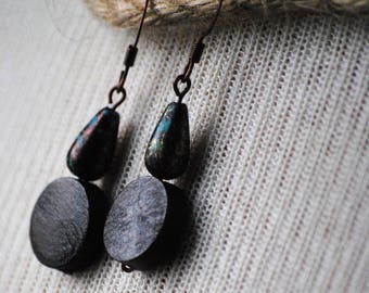 Patina and Wood Earrings