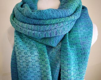 Handwoven Shawl / Scarf, hand dyed cotton, blue & green