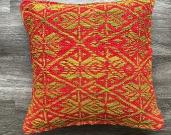 Manta Hand woven pillow cover sheep wool, 17x18, boho Kilim style,peruvian textile, rustic chic design, natural dyes.