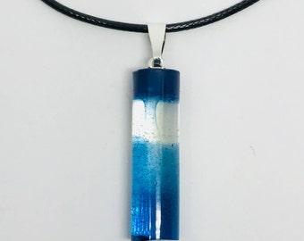 Blue cylinder resin necklace