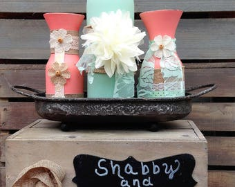 Mint and Coral Shabby Chic Vase Set on Rustic Metal Tray