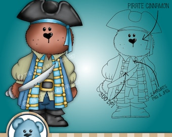 INSTANT DOWNLOAD - Digital Digi Stamp - Pirate Cinannamon