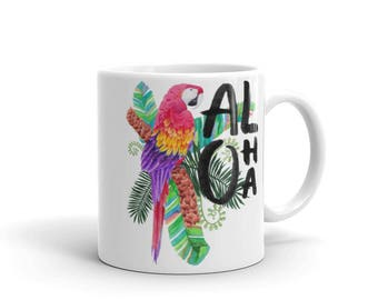 Aloha - Tropical Hawaiian Getaway Vacation Floral Macaw Parrot Coffee Mug