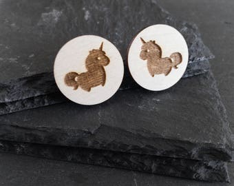 Cute unicorn earrings - wood and sterling silver post stud earrings - chubby unicorn gift - aromatherapy earrings - everyday earrings