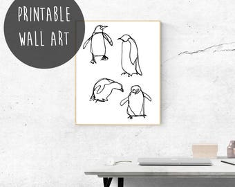 Penguin Print Nursery, Digital Download Art, Penguin Gift, Penguin Printable Wall Art, Nursery Animal Print, Bird Art Print, Gender Neutral