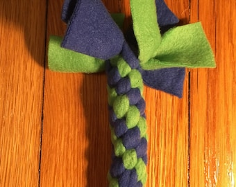 Mini Tug, Toss and Chew Fleece Dog Toy, Spiral (blue and green solid)