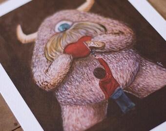 Digital Illustration Fine Art Print lowbrow pop surrealism emotional tender heart LOVE MONSTER