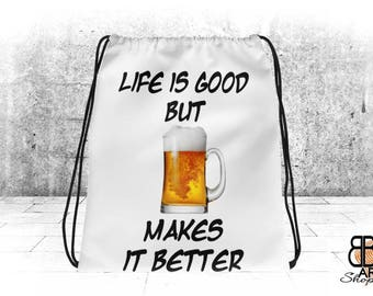 "Drawstring Bag, White Sports Bag, 15""x17"", Funny Bag, Gym Bag, Beer Lover Gift Bag, Beer Gifts, Beer Lover Gift, Beer Gift, Beer Lover Gifts"