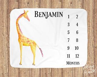 Baby Milestone Blanket, Baby Boy Gift, Giraffe Baby Milestone Blanket, Monthly Baby Blanket Boy, Baby Month Blanket Boy, Baby Boy Blanket