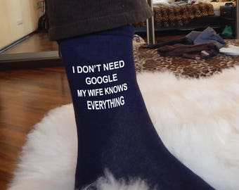 Funny socks, funny gift, i don't need Coogle, my wife knows everything, gify for man