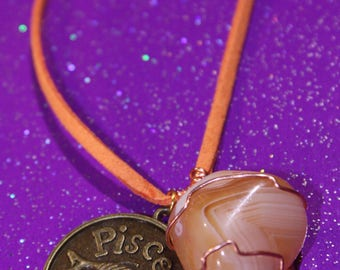 Banded Orange Carnelian Tumblestone Pisces Zodiac Charm Faux Suede Handmade Copper Wrapped Slip Knot Vegan Necklace