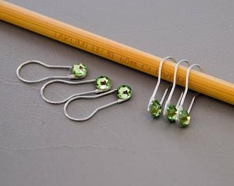 Silver Jeweled Stitch Markers | Set of 6 locking stitch markers