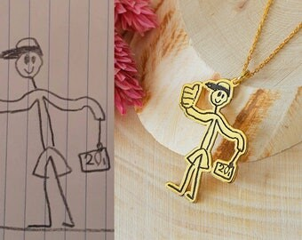 Personalized Actual Kid's Drawing Necklace, Children's Drawing, Child's Drawing Necklace, Kid's Art Necklace,Silver Necklace,Gold,Rose,Gift