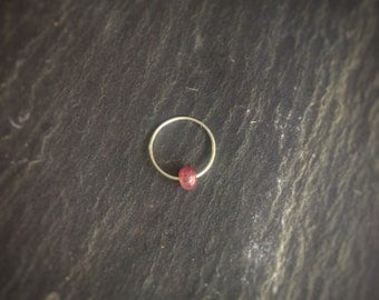 Silver And Ruby Nose Ring / 22G 24G Hoop / Earrings / Tragus /Helix /  Septum / lip / Conch / Eyebrow / Piercing Jewellery