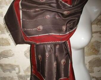 Scarf Céline, vintage silk in good condition, hemmed by hand, fringed, 29 X 120 cm