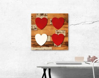 Reclaimed Wood Inlay Frame with Wooden Heart Accents - rustic heart, wood heart decor, wedding decor, valentine's day, wall decor, wood art