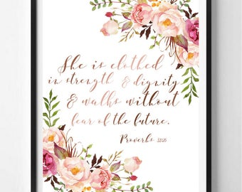 Bible Verse Printable Wall art Proverbs 31:25 Rose Gold Watercolor Flowers