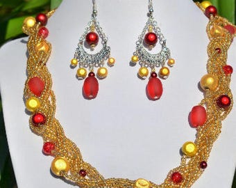 braided gold and Red necklace set