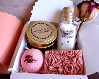 Will You Be My Bridesmaid Gift Box Bridesmaid Proposal Gift Set Bridesmaid spa gift set Spa gift Bridesmaid Proposal bridesmaid gift Rose