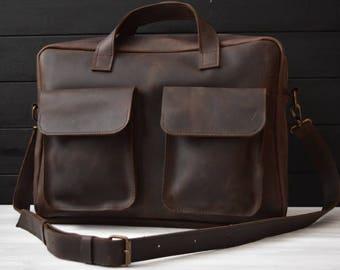 Messenger bag/brown leather bag/leather messenger/leather briefcase/leather laptop bag/shoulder bag/gift for him/handmade leather bag/