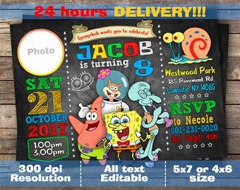 Spongebob Invitation - Spongebob Birthday Invitation - Spongebob - Spongebob Printable - Spongebob Card - Spongebob Invite